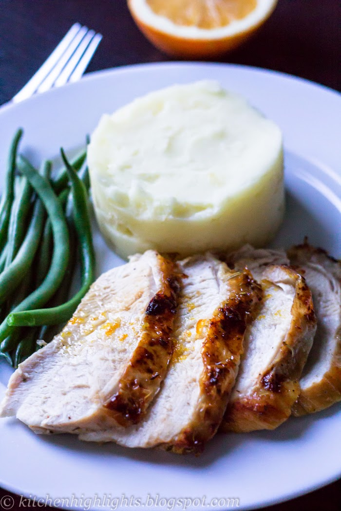 Around the Thanksgiving dinner table, the centerpiece is the turkey and I decided to roast it with an orange-honey glaze and serve it with garlic mashed potatoes and green beans