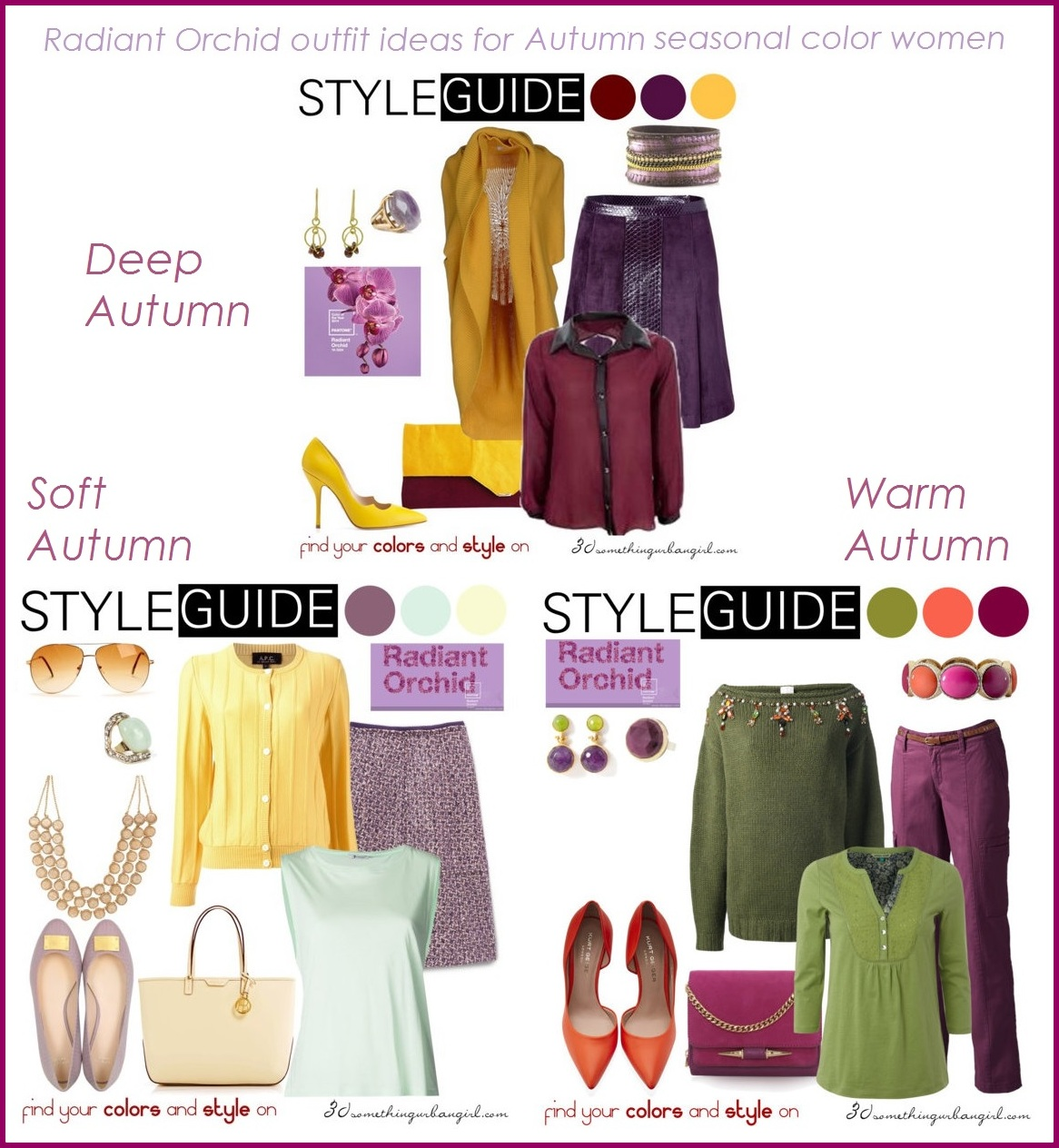 Radiant Orchid outfit ideas for Autumn seasonal color women