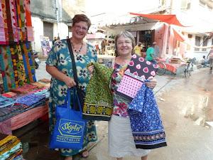 Nikki and Debra in Zanzibar Shopping