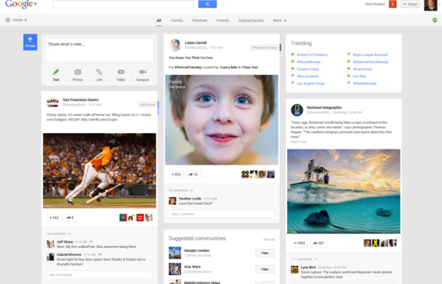 new look of google+