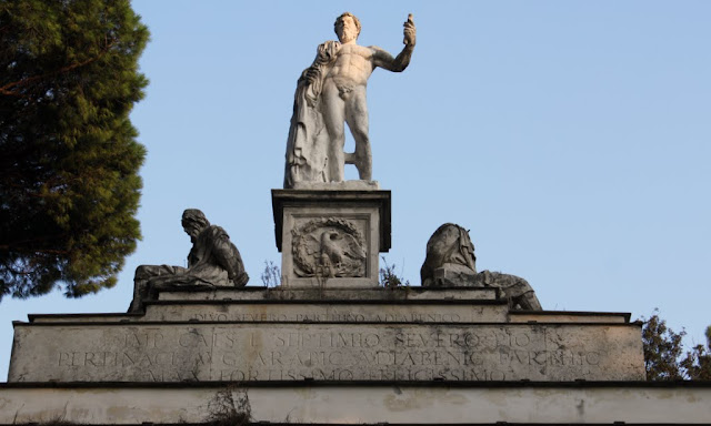 A close up look at the gateway from Villa Borghese Lake in Rome, Italy