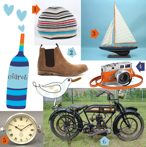 1.Paul Smith hat 2.menlook boots 3.dorset gifts wooden yacht 4. leica m7 hermes camera 5. rarecarrelics vintage car 6. rarecarrelics vintage motorcycle