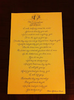 custom calligraphy wedding first dance lyrics