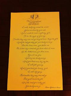 custom calligraphy wedding first dance lyrics