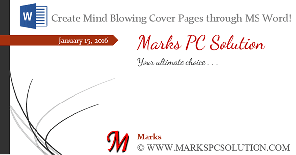 Mindblowing Cover Pages by MS Word