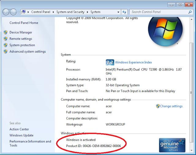 Cara Mudah Aktivasi Windows 7 Genuine Asli