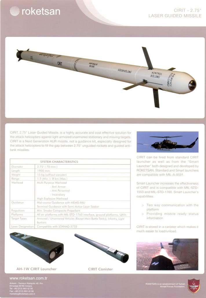 المروحية التركية t129 attak Roketsan+Cirit+2.75+Laser+Guided+Rocket++laser-guided+70+mm+rocket+system+Turkish+Army%2527s+T-129+Atak%252C+AH-1P+Cobra+AH-1W+Super+Cobra+attack+helicopters+with+low-cost+precision+strike+capabilitie+%25283%2529