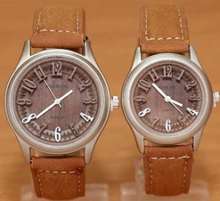 Jual Jam Tangan Couple KW Murah Fossil Wood Leather 2015