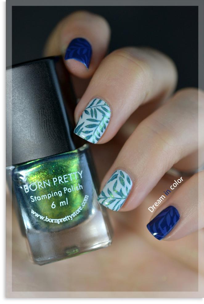 Nail art feuillage stamping