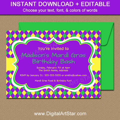 Mardi Gras Birthday Invitation Download