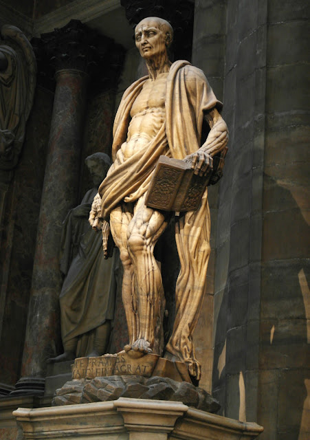 St Bartholomew statue Duomo Cathedral Milan, Italy