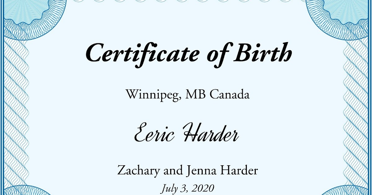 Eeric James Harder Eerics Birth Certificate