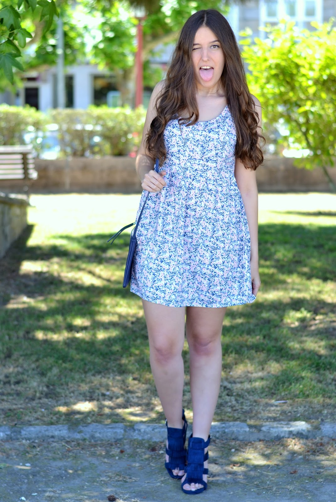 outfits floral print baby blue and pink