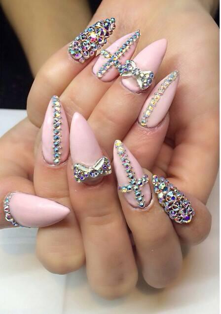 Pink Rhinestones Nail art | Nails