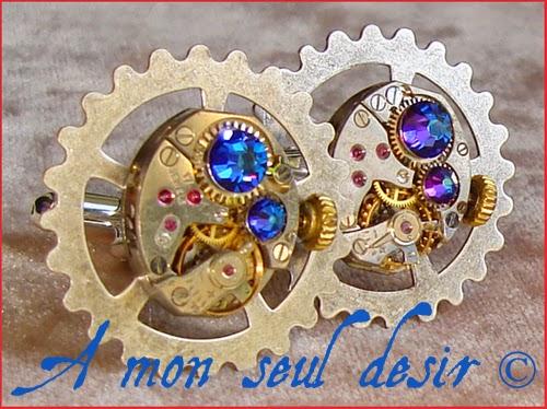Boutons de Manchette Steampunk Mécanisme mouvement de montre mécanique rouage watchwork clockwork silver cuff button Gear Wheel