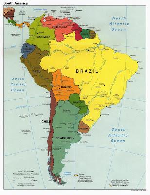 Carte Amérique du Sud Departement Région
