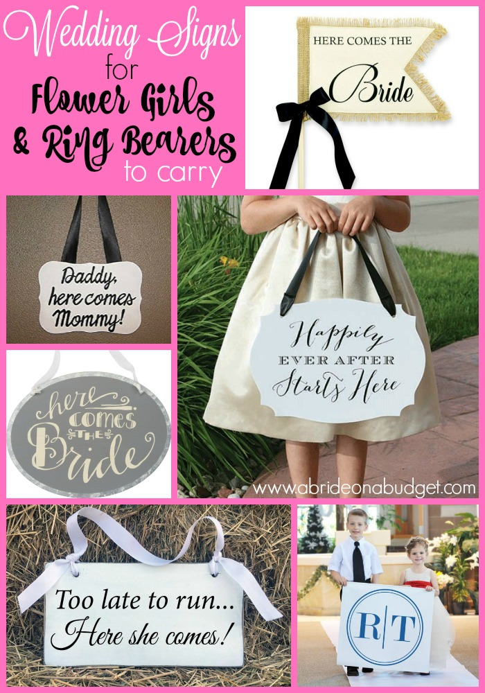 wedding signs for flower girls ring bearers to carry a bride on a budget. Black Bedroom Furniture Sets. Home Design Ideas