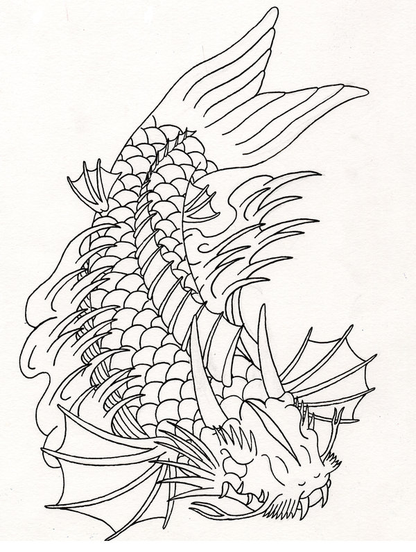 Koi fish drawing outline - photo#23