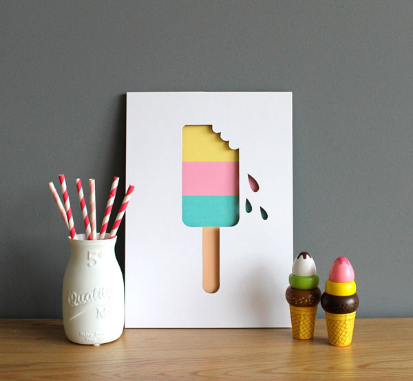 Ice Lolly A4 Cut Out Print by Muska & Elvis
