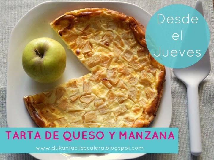 Receta dulce facilísima light para dietas normales o la dieta suave de Dukan ,LA ESCALERA NUTRICIONAL.Tarta de queso y manzana al horno.