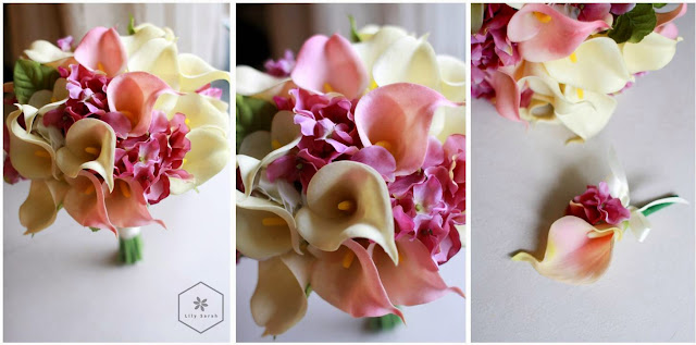 pink and white calla lily silk flower bouquet by lily sarah