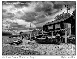 basin hut shed paint flaky texture atmosphere black white Angus Scotland East coast seaside award winning