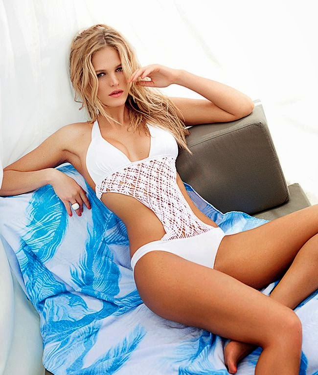 Erin Heatherton displayed her favorite swimwear's, we were once again reminded of the joy of a classic two-pieces as she posed for July 214 Issue of Ocean Drive.