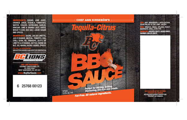 Bc lions bbq sauce on packaging of the world creative for Bbq sauce label template