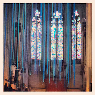 A view towards the sanctuary, with the ribbons at Grace Cathedral