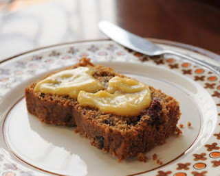 Irish Spiced Fruitcake, here with a smear of Brown Sugar Lemon Curd