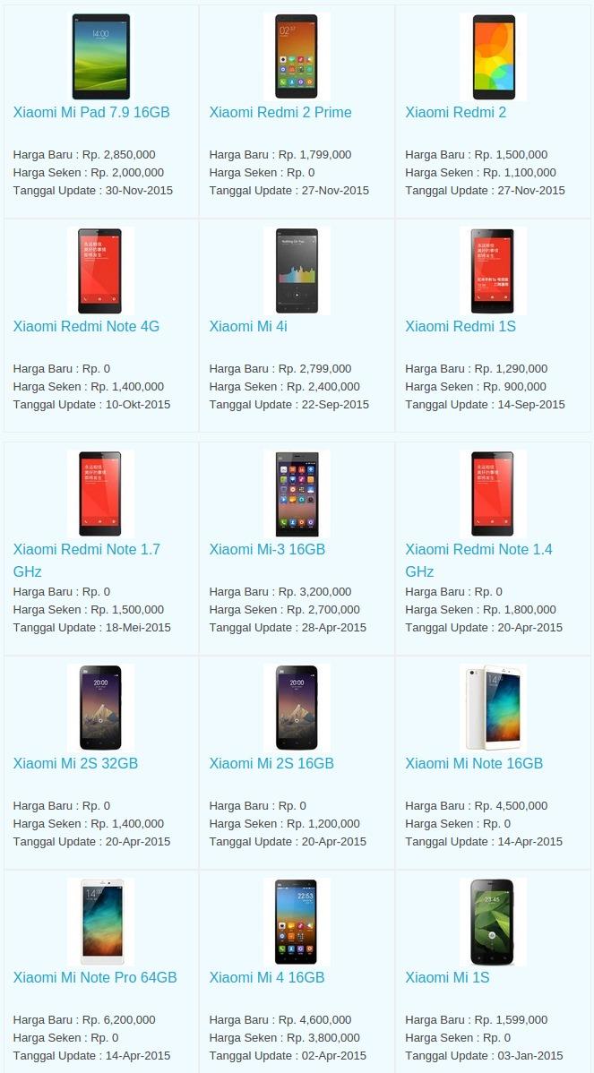 Daftar Harga Hp Xiaomi Januari 2016