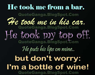 funny sayings on He took me from a bar. He took me in his car. He took my top off. He puts his lips on mine, but don't worry: I'm a bottle of wine