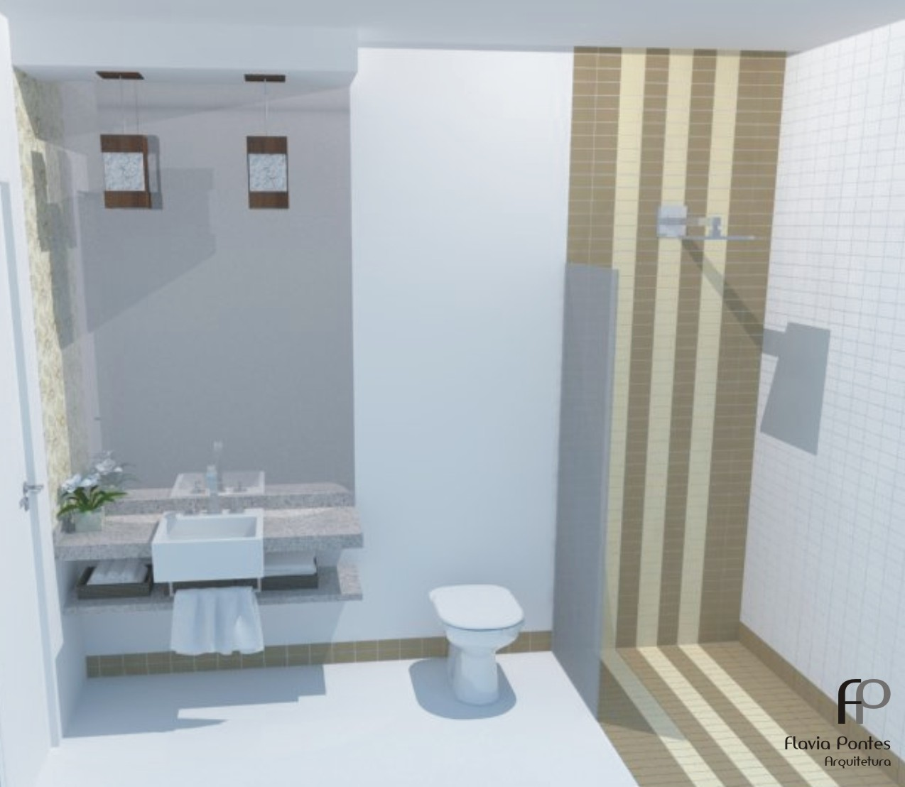 pediu uma alteração na paleta de cores do projeto do banheiro  #526679 1274x1108 Banheiro Com Cuba Azul