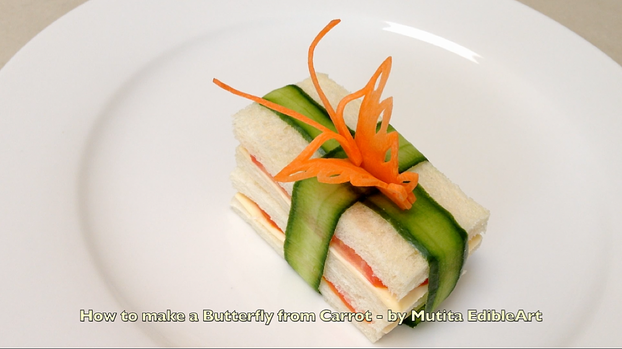 Vegetable carving step by step procedure - How To Make A Butterfly From Carrot Garnish On Sandwich Beginners Lesson 72 By Mutita Edibleart For More Fruit Or Vegetable Carving Lesson