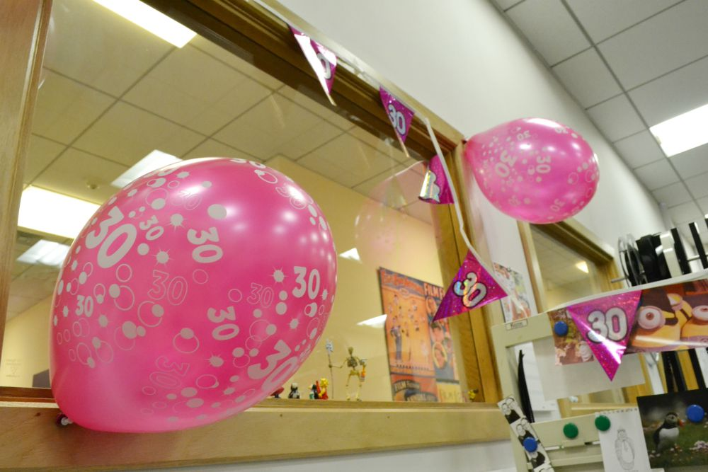 birthday pink balloons banner 30