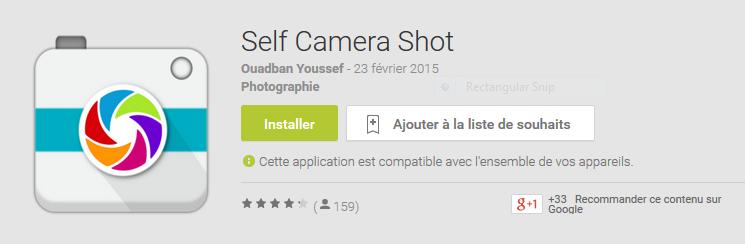 """لابد أنك في يوم من الأيام أردت إلتقط صورة  لنفسك من مكان بعيد و بطبيعة الحال سوف تستخدم المؤقت""""timer ,Retardateur"""".     لكن مع تطبيق Self Camera Shot لن تستعمل المؤقت بعد الأن ,لأن هذا التطبيق يسمح لك بإلتقاط الصور بهاتفك عن بعد باستخدام التصفير دون لمس هاتفك."""