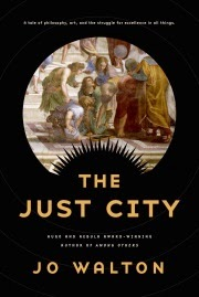 Cover art for The Just City, featuring a Renaissance painting of philosophers debating on the steps of a Grecian building. The painting is enclosed in a roundel; the rest of the cover is solid black, aside from the title and author's name.