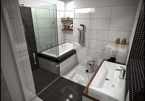 kombinasi warna cat hitam putih kamar mandi kecil