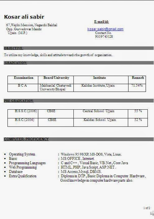 Bca Resume Format Doc Simple Resume Format Download Free
