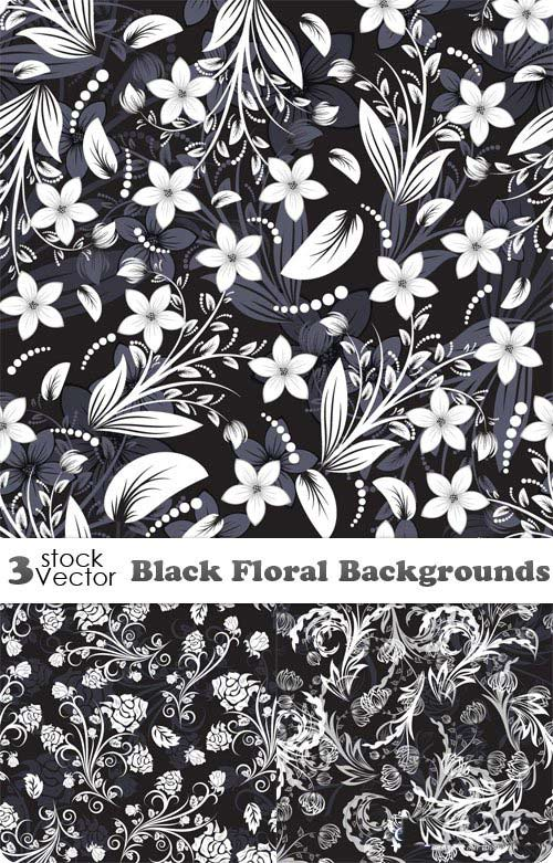 Backgrounds Vector - Black Floral