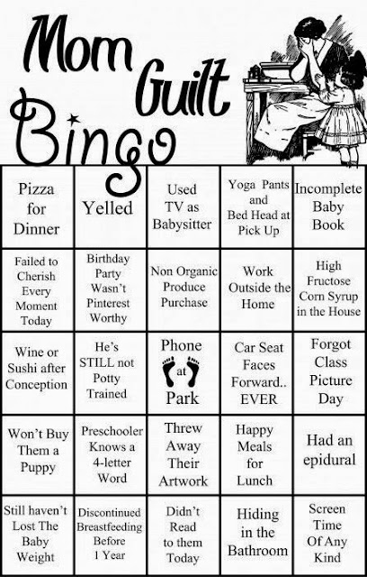 Mom guilt, mom guilt bingo, mom humor, mom funny, pizza for dinner, screentime, cursing preschooler, baby weight, won't buy puppy, happy meals, epidural, yelling mom,