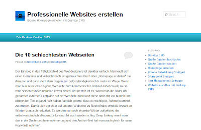 Das Bild zeigt einen Screenshot von blog.zeta-producer.com, welches einen Artikel über die 10 schlechtesten Webseiten verfasst hat