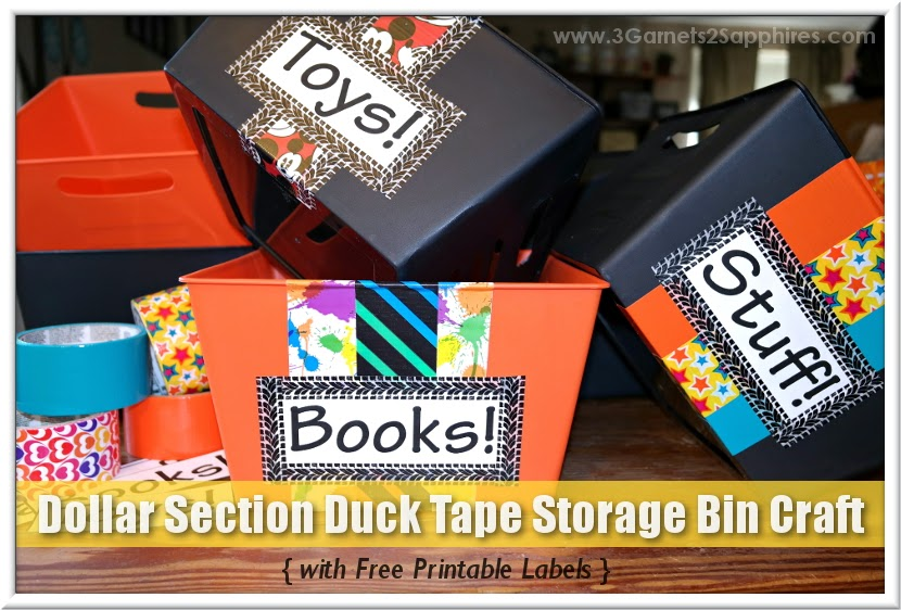 Dollar Section Duck Tape Storage Bin Craft Tutorial  |  www.3Garnets2Sapphires.com