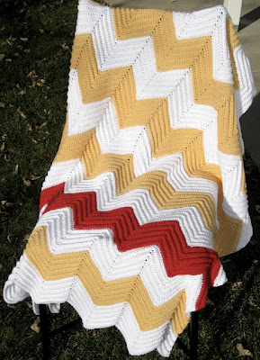 free striped chevron blanket crochet pattern
