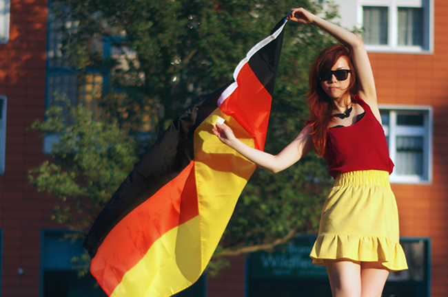 German soccer fan with german flag