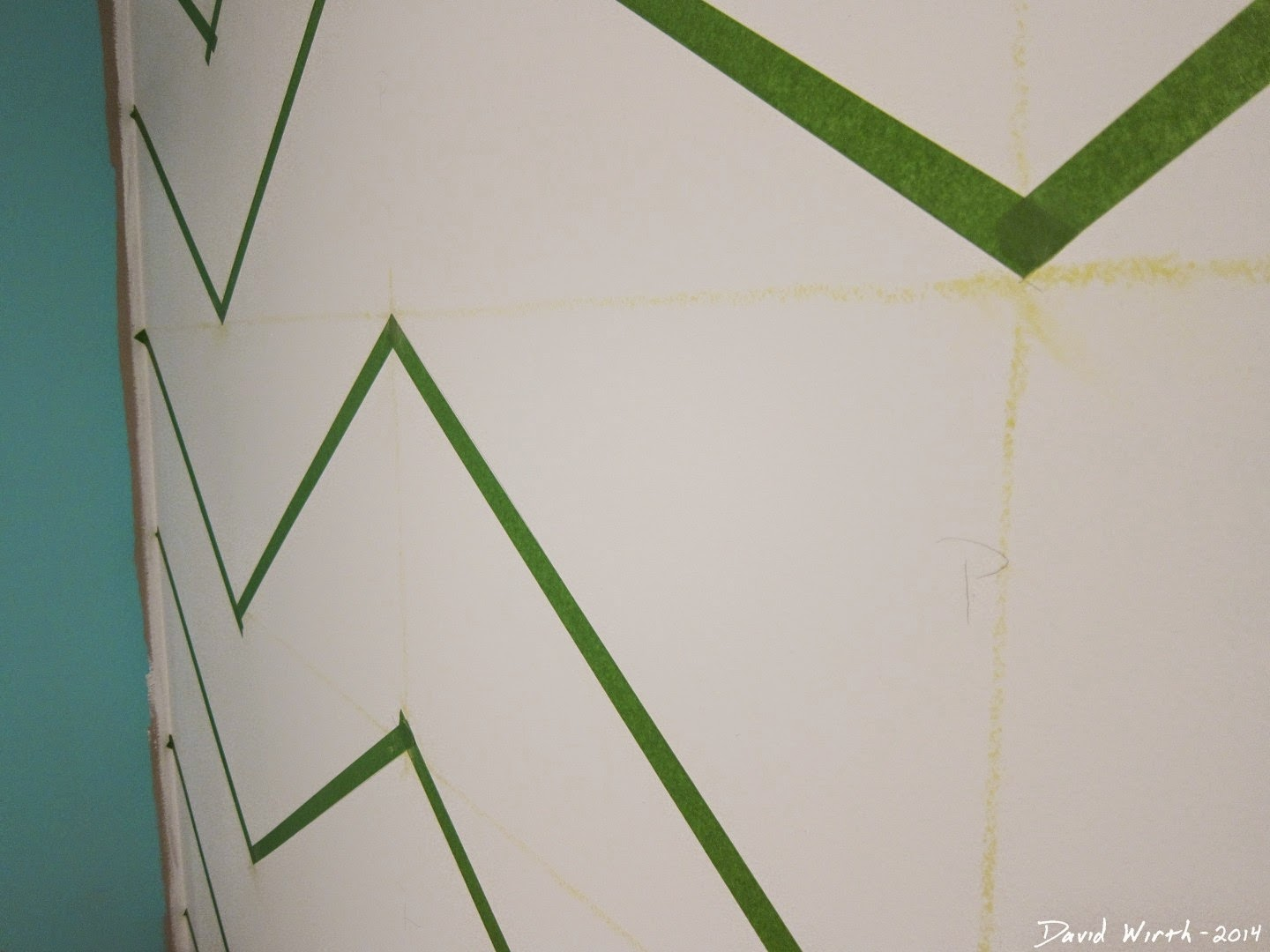 masking tape pattern on wall, cool, funky, easy, free