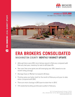 ERA Brokers Consolidated recently published its February 2013 Monthly Market Report covering an update for Washington County. The market report provides statistics of home prices, building permits and compares them with last years numbers for Washington County.