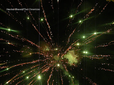 Firecrackers lighting up the sky during festival celebrations in India