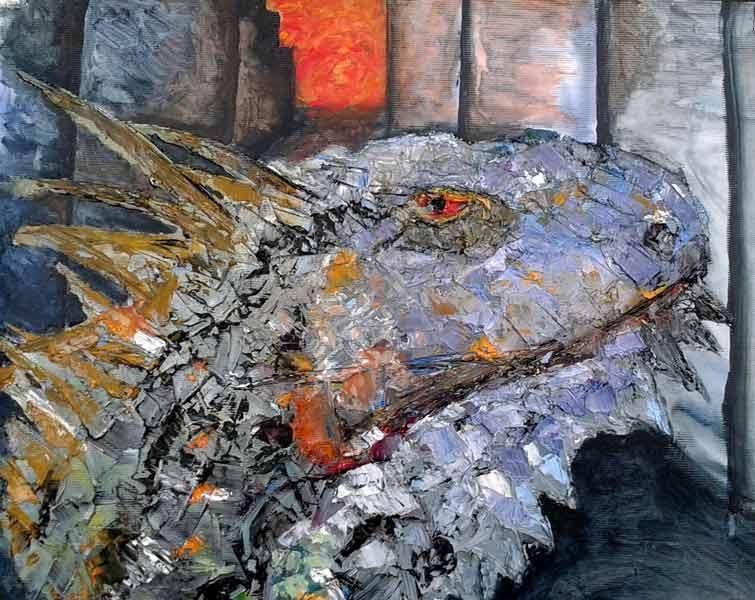 iguana al oleo