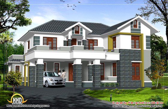 Sloping roof 2 Story home -2907 Sq. Ft. (270 Sq.M.) (323 Square Yards) - April 2012